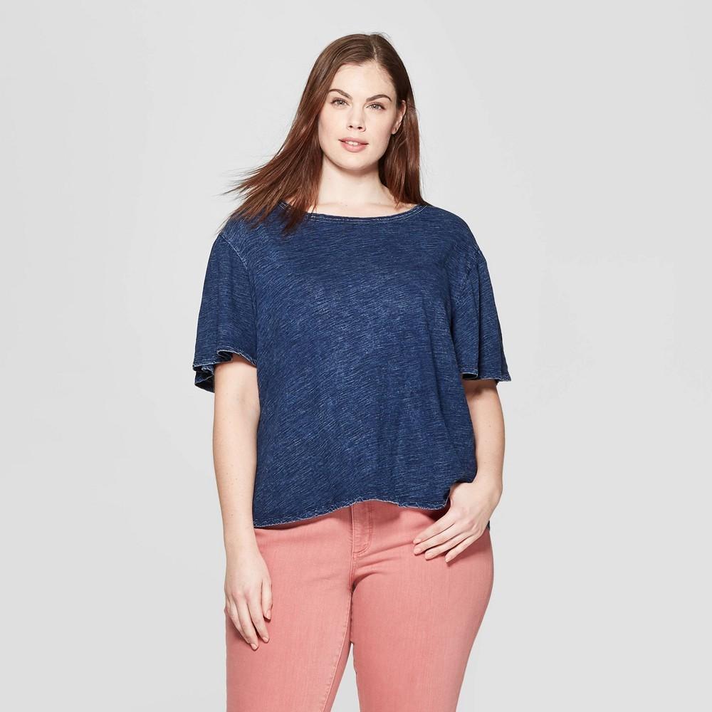 Women's Plus Size Short Flutter Sleeve Crew Neck Top - Universal Thread Indigo (Blue) 2X