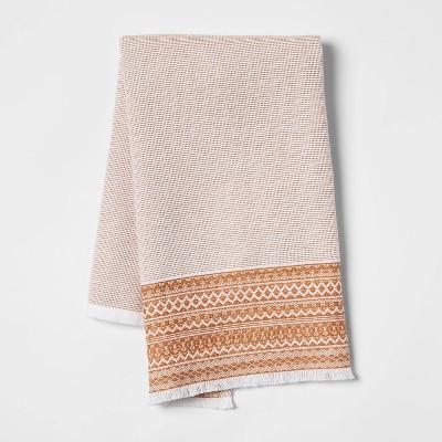 Dobi Border Dual Sided Terry Kitchen Towel Orange - Opalhouse™