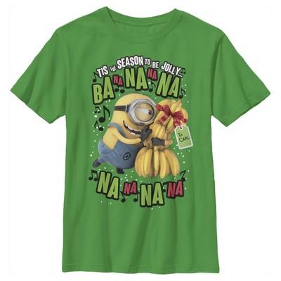 Boy's Despicable Me Christmas Carols Minons Banana T-Shirt