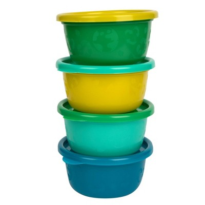 The First Years GreenGrown Reusable Toddler Snack Bowls with Lids - Blue - 4pk