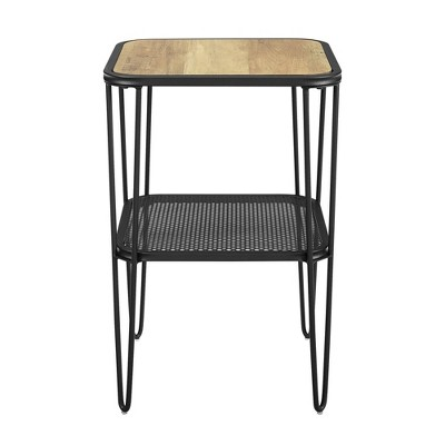 Industrial Hairpin Leg Side Table with Metal Mesh Shelf  - Saracina Home