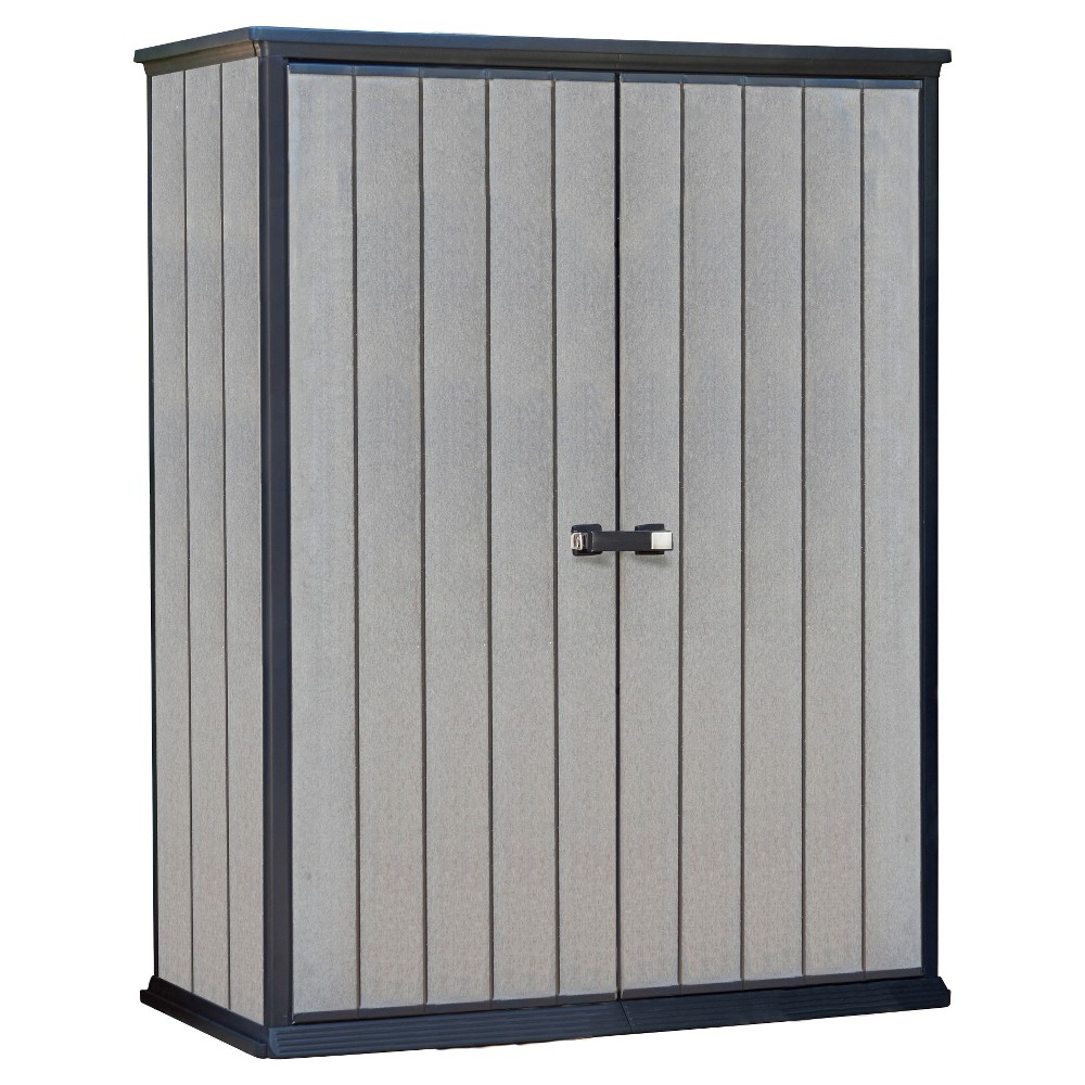High Store Customizable Vertical Outdoor Storage Shed Gray - Keter