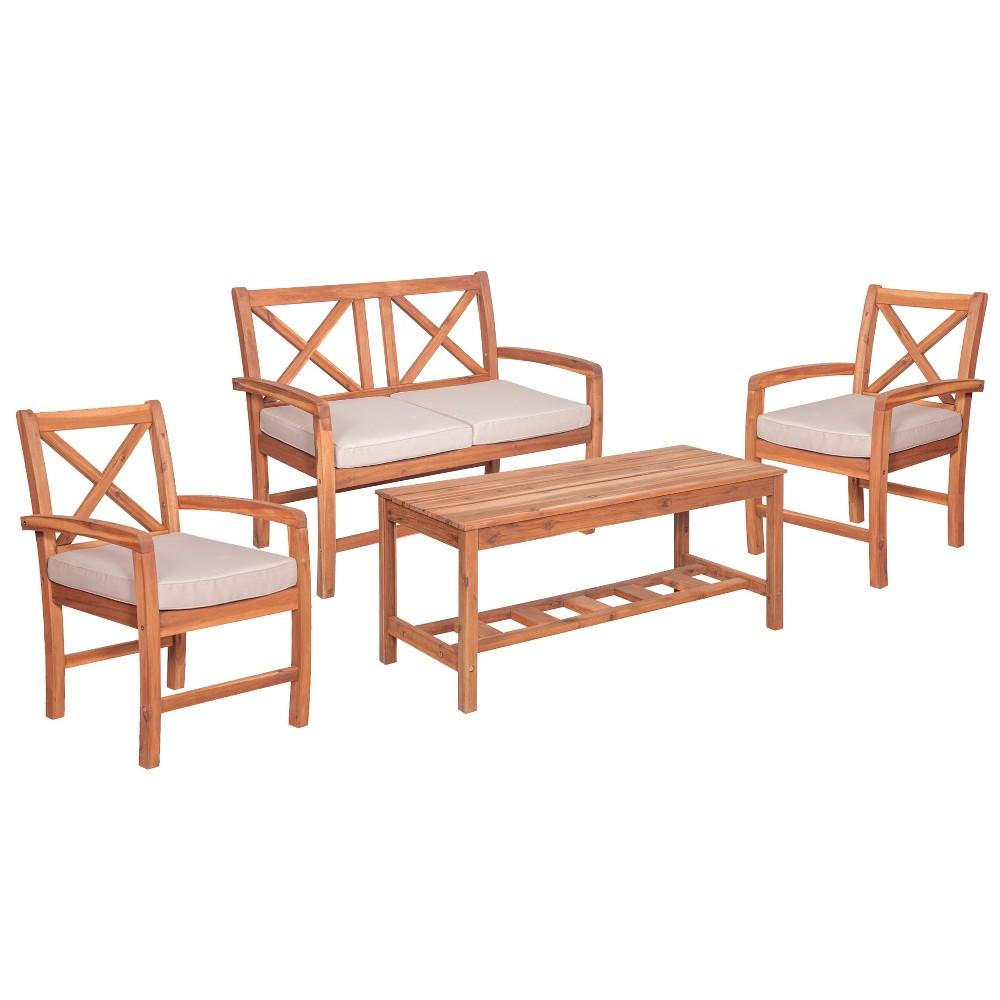 4pc Acacia X - Back Patio Conversation Set with Cushions - Brown - Saracina Home