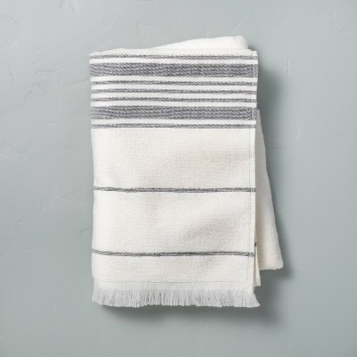 Multistripe Bath Towel Sour Cream/Railroad Gray - Hearth & Hand™ with Magnolia