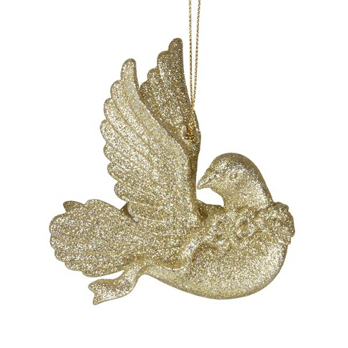 Roman 4 Glittery Dove With Head Turned Christmas Ornament Gold