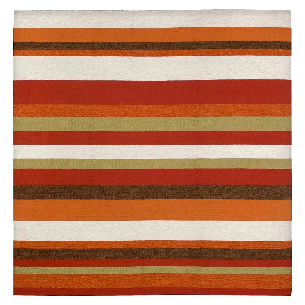 Image of Liora Manne Ravella Stripe Indoor/Outdoor Area Rug - Orange (8'x8')