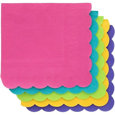 Juvale 200 Pack 2-Ply Paper Cocktail Disposable Napkins, Scalloped Edge, Tropical Colors