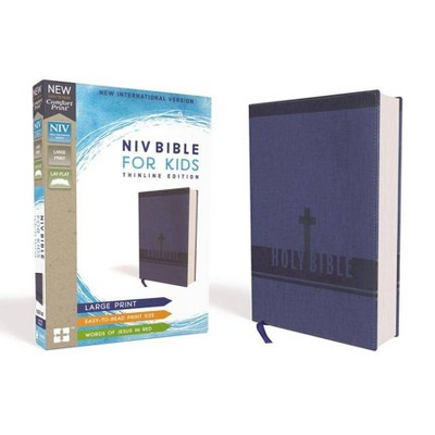 Niv, Bible for Kids, Large Print, Leathersoft, Blue, Red Letter, Comfort Print - by  Zondervan (Leather Bound)
