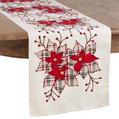 Plaid Poinsettia Table Runner Red - Saro Lifestyle