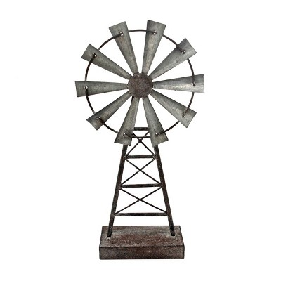 Distressed Metal Windmill Table Decor - Foreside Home & Garden