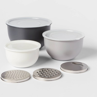 9pc Set - 3 Nesting Bowls with Lids and 3 Slicing Attachments Gray - Made By Design™