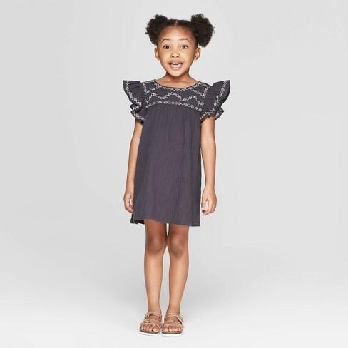 c2480db3804 Toddler Girls  Ruffle Sleeve Shift Dress - Art Class™ Black 5T   Target