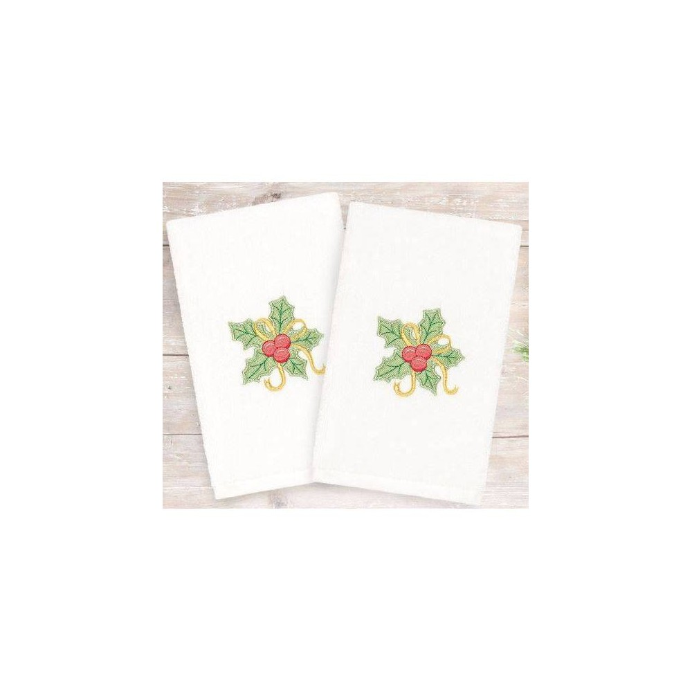 Image of 2pk Holly Bunch Holiday Hand Towels - Linum Home Textiles, White