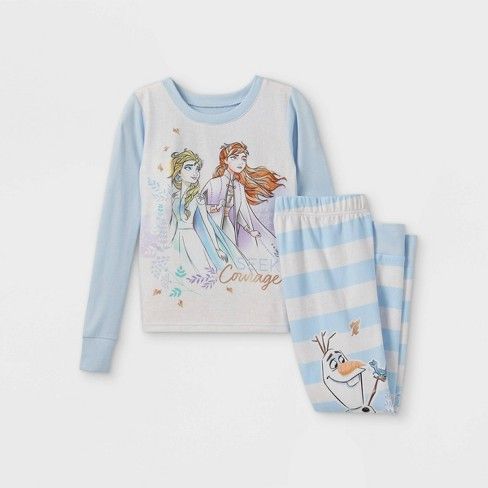 Girls' Frozen 2pc Hacci Pajama Set - Blue - image 1 of 3