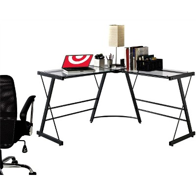 Portland Glass L Shaped Computer Desk Gray   Room U0026 Joy : Target