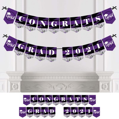 Big Dot of Happiness Purple Grad - Best is Yet to Come - Purple Graduation Party Bunting Banner - Party Decorations - Congrats Grad 2021