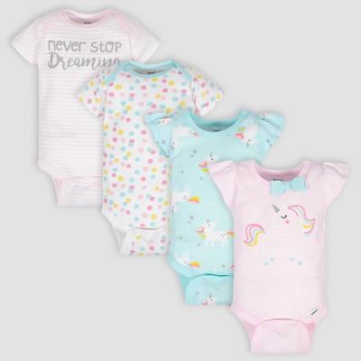 Gerber Baby Girls' 4pk Unicorn Onesies - Pink/Green/White 3-6M