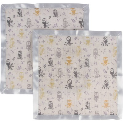 MiracleWare Forest Owl Muslin Security Blanket - 2pk
