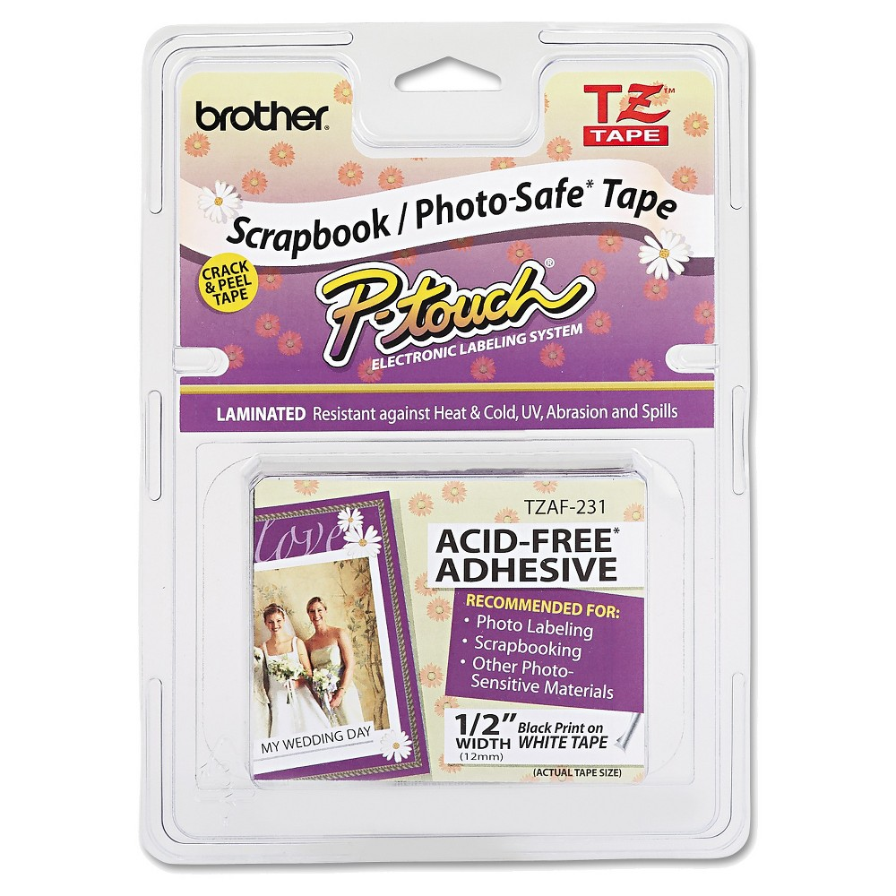 Image of Brother P-Touch TZ Photo-Safe Tape Cartridge for P-Touch Labelers - Black/White