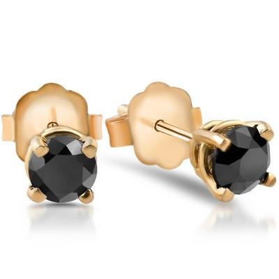 Pompeii3 1/2 Ct Round Heat Treated Black Diamond 14K White Or Yellow Gold Stud Earrings in Basket Setting