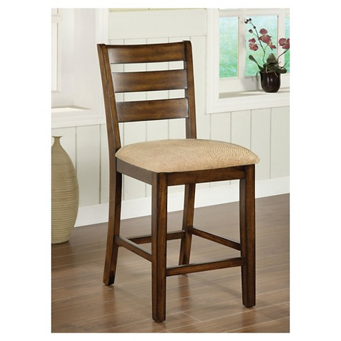 Sun & Pine Ladder Back Fabric Padded Counter Side Chair Wood/Antique Oak  (Set of 2) : Target - Sun & Pine Ladder Back Fabric Padded Counter Side Chair Wood/Antique