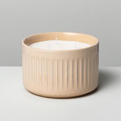 11oz Medium 3- Wick Honey Bergamot Fluted Ceramic Candle - Hearth & Hand™ with Magnolia