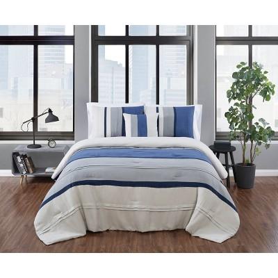 London Fog Newport Stripe Microsuede Comforter Set