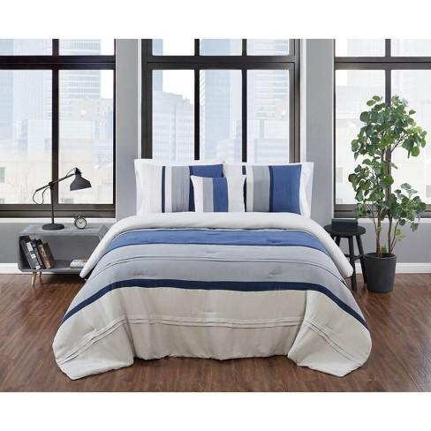 Twin XL 3pc Newport Stripe Microsuede Comforter Set - London Fog - image 1 of 4