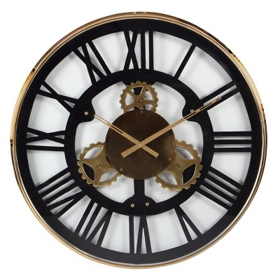 "32"" industrial Oversized Stainless Steel Gear Wall Clock - Olivia & May"