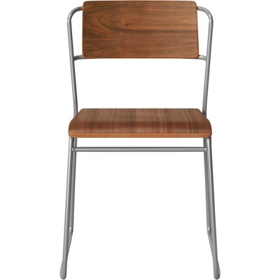 Killiam Mixed Material Sled Dining Chair Wood and Metal Silver - Project 62™