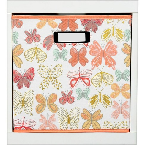 """13""""x13"""" Butterfly Fabric Cube Toy Storage Bin - Pillowfort™ - image 1 of 2"""