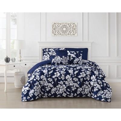 King 6pc Jacqueline Pintuck Comforter Set Navy - Addison Home