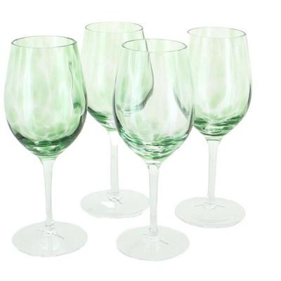 Blue Rose Polish Pottery Green Confetti Wine Glass Set
