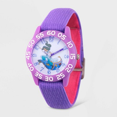Girls' Disney Aladdin Princess Jasmine Plastic Time Teacher Watch - Purple