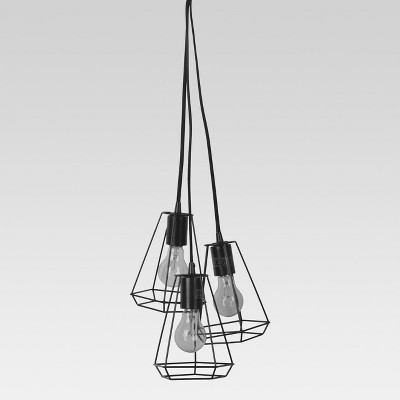 Entenza 3-Head Faceted Geometric Pendant Ceiling Light Black Lamp Only - Project 62™