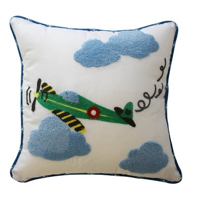 "In the Clouds Airplane Throw Pillow (15""x15"")- Waverly Kids"