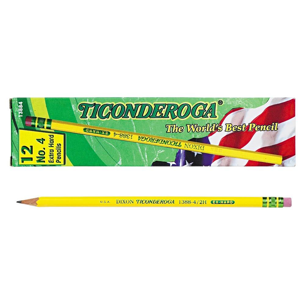 Ticonderoga Woodcase Pencil, 2H #4, Yellow Barrel, Dozen