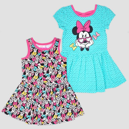 6eefa9e23 Toddler Girls' 2pk Disney Mickey Mouse & Friends Minnie Mouse Short Sleeve  Skater Dress - Aqua/Pink : Target