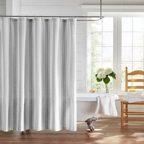 farmhouse living homestead stripe fabric bathroom shower curtain 72 x 72 black white elrene home fashions