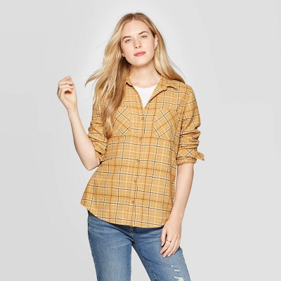 Women's Plaid Long Sleeve Cotton Flannel Shirt - Universal Thread™ Gold L