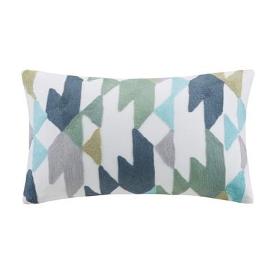 Konya Embroidered Lumbar Throw Pillow Blue