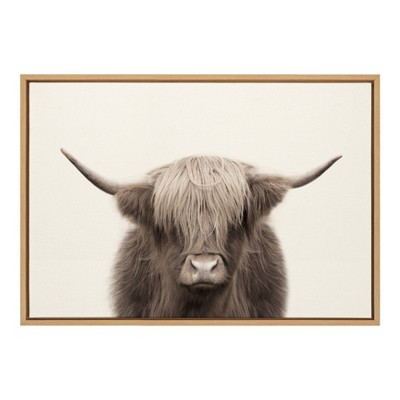 """23"""" x 33"""" Sylvie Highland Cow Color Framed Canvas by The Creative Bunch Studio Natural - Kate and Laurel"""