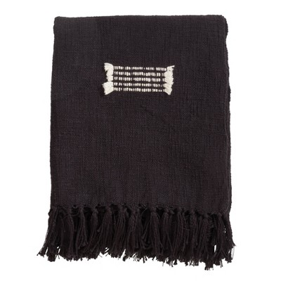 """50""""x60"""" Cotton Throw With Fringed Lines - SARO : Target"""
