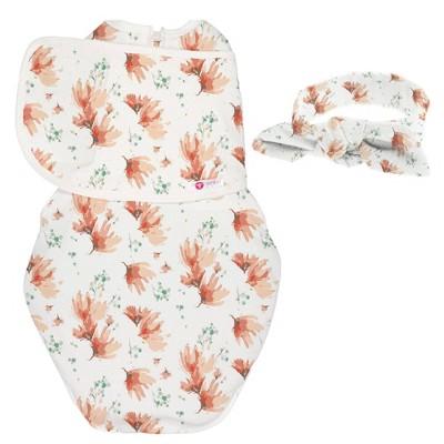 embé Starter Swaddle Original and Bow Headband Bundle - Blush Blossom