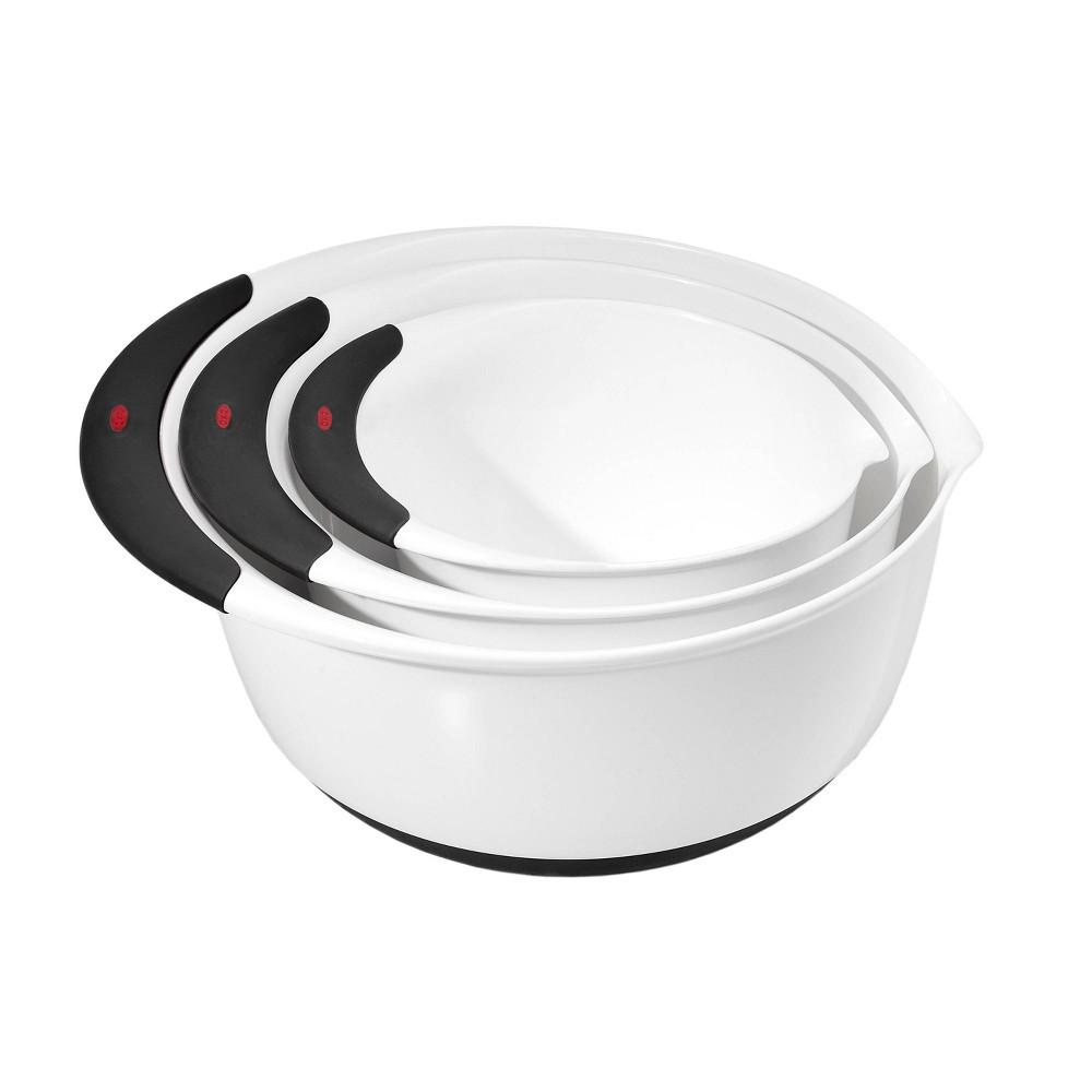 Image of OXO 3pc Plastic Mixing Bowl Set with Black Handles