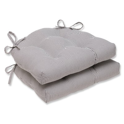 """Gray Oxford Reversible Chair Pad (Set Of 2) (16.5""""X15.5"""") - Pillow Perfect"""