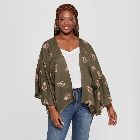 010ccb870c6 Women s Plus Size Floral Print Woven Patterned Flounce Sleeve Kimono Jacket  - Universal Thread™ Olive   Target