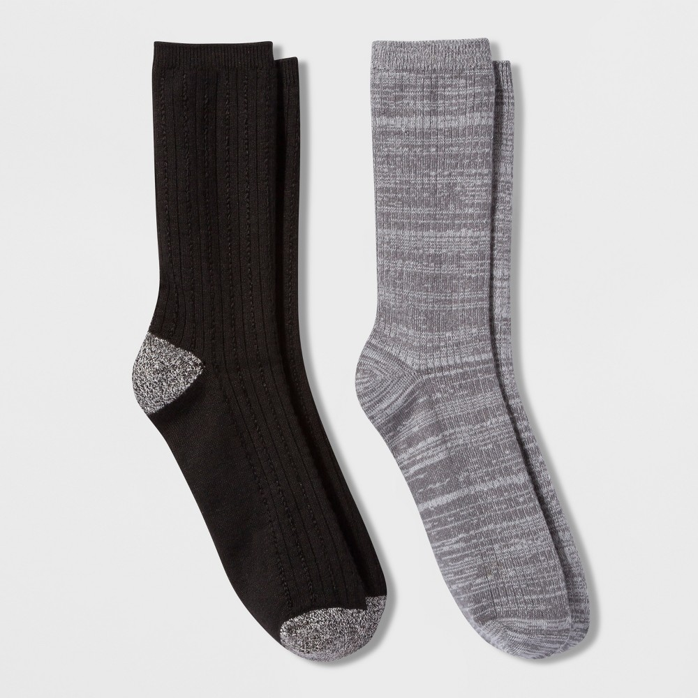 Cuddl Duds Women's Spacedye Rib/Chain Stitch 2pk Crew Socks - Gray 9-11