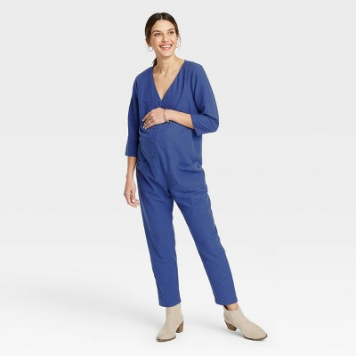 The Nines by HATCH™ Maternity 3/4 Sleeve Button-Front Jumpsuit Blue