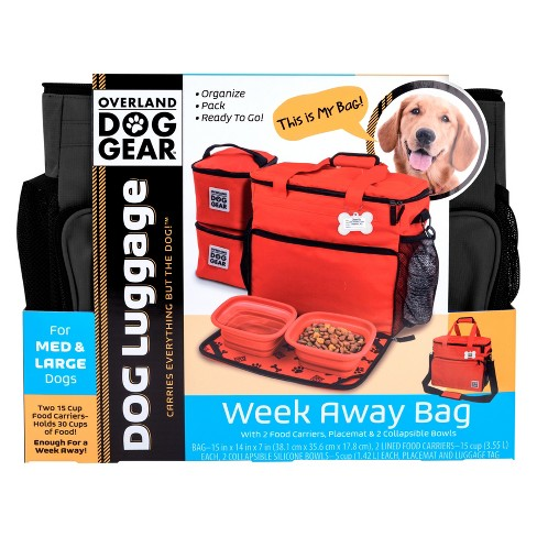 Overland Dog Gear Travel Bag Week Away For Medium Large Dogs With 2 Food Carriers Placemat Bowls